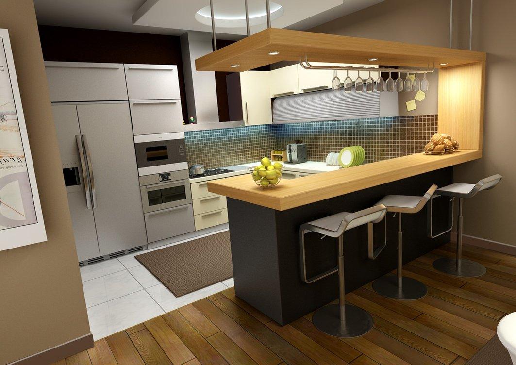 дизайн кухни с барной стойкой в частном доме фото