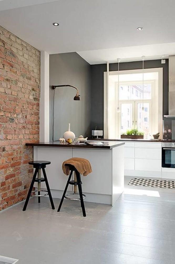 Кухня/столовая в  цветах:   Бежевый, Белый, Светло-серый, Серый.  Кухня/столовая в  стиле:   Лофт.