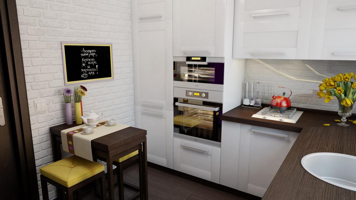 Кухня/столовая в  цветах:   Светло-серый, Серый, Темно-коричневый, Черный.  Кухня/столовая в  стиле:   Минимализм.