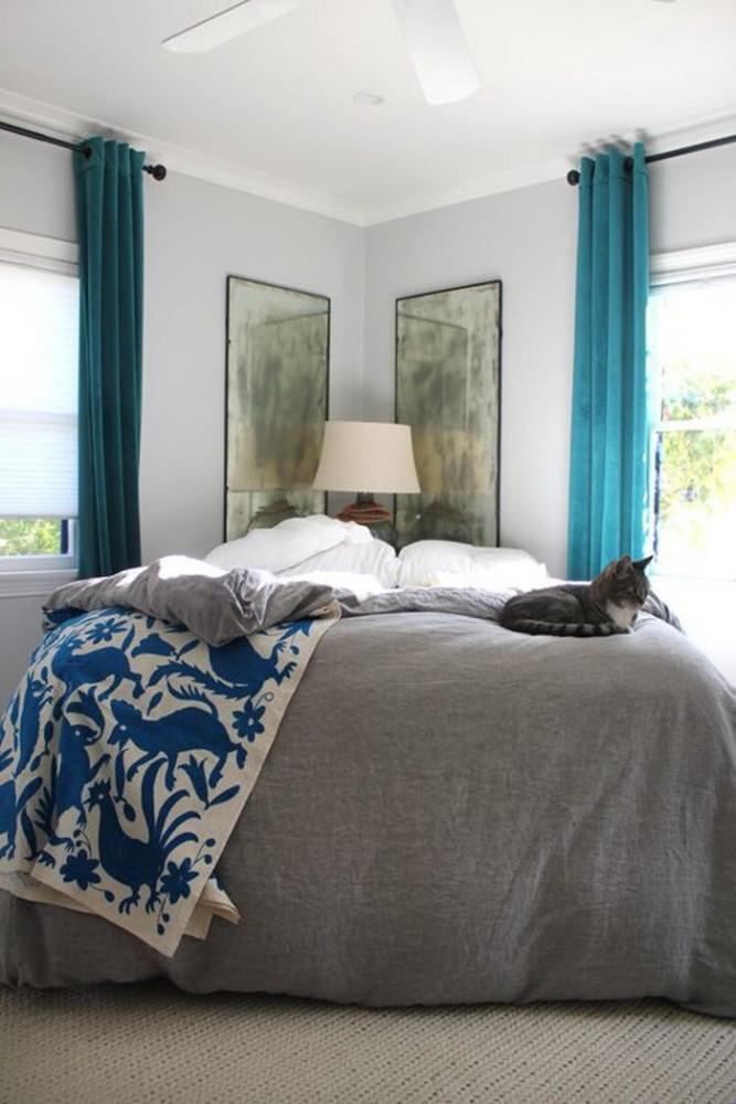 Спальня в  цветах:   Белый, Светло-серый, Серый, Синий.  Спальня в  стиле:   Минимализм.