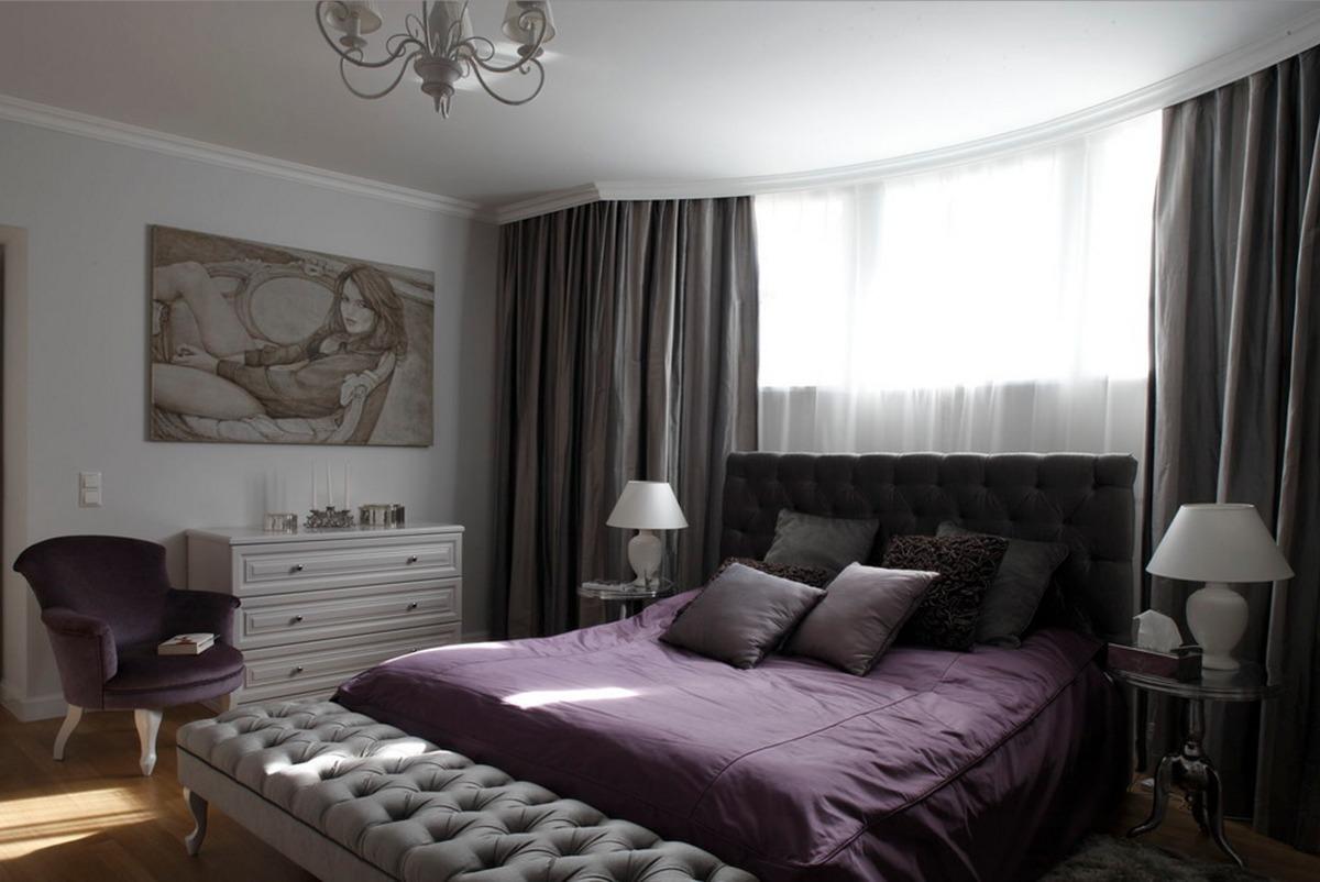 Спальня в  цветах:   Белый, Серый, Черный.  Спальня в  стиле:   Классика.