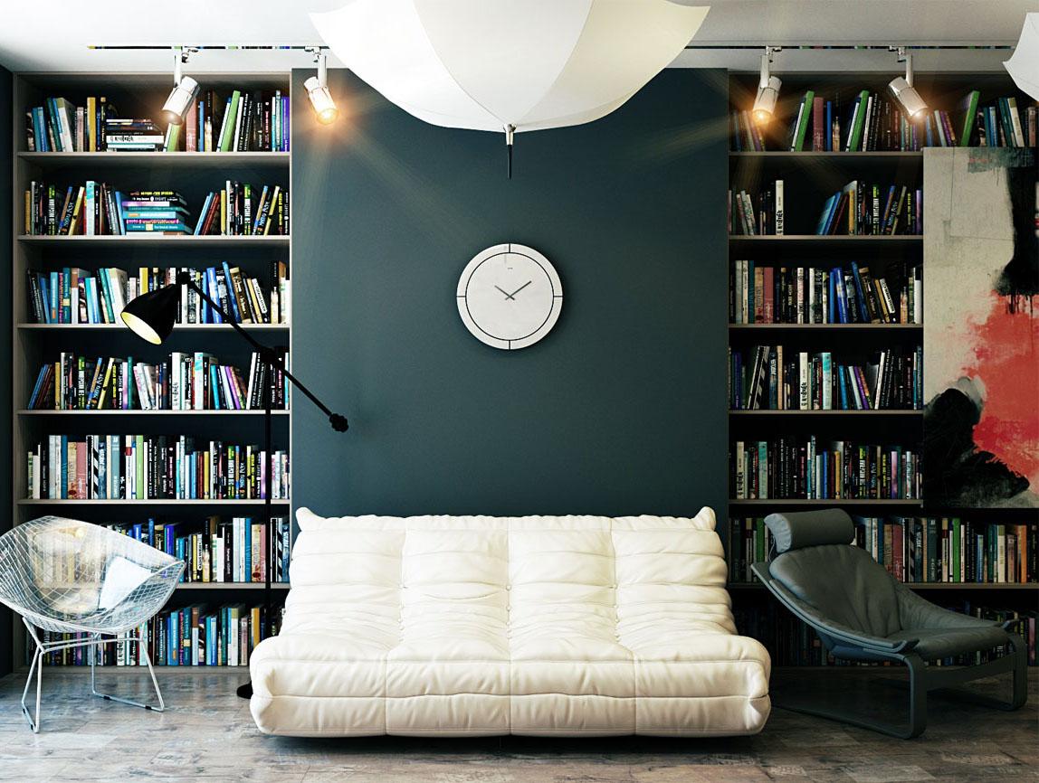 Гостиная в  цветах:   Белый, Серый, Синий, Черный.  Гостиная в  стиле:   Минимализм.