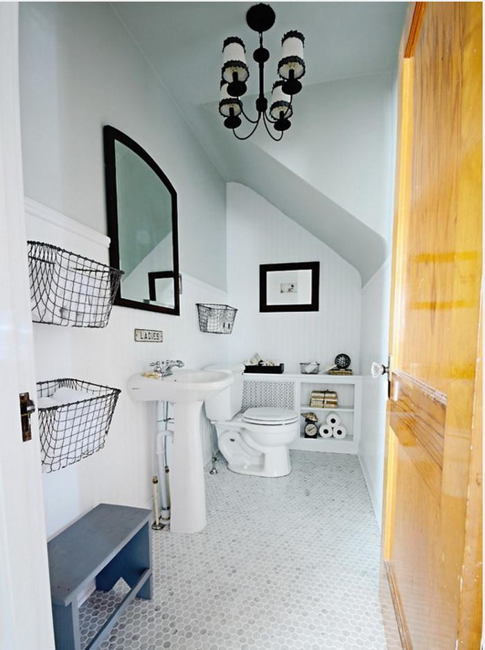Ванная в цветах: Белый, Желтый, Светло-серый, Серый. Ванная в стиле: Скандинавский.