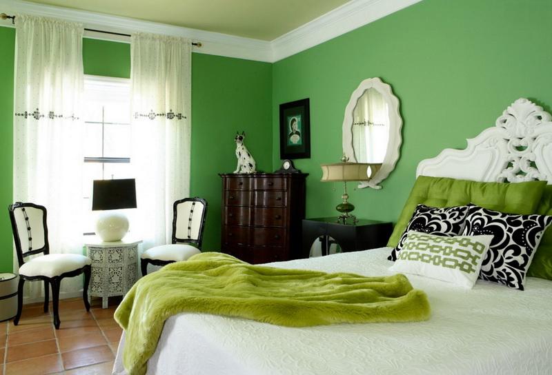 Спальня в цветах: Бежевый, Белый, Салатовый, Светло-серый. Спальня в стиле: Эклектика.