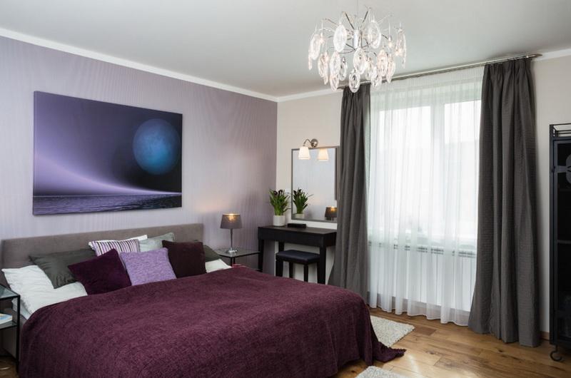 Спальня в цветах: Белый, Светло-серый, Серый, Темно-коричневый. Спальня в стиле: Минимализм.