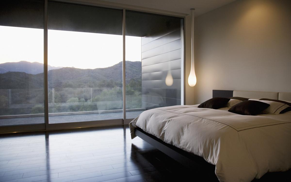Спальня в  цветах:   Бежевый, Белый, Серый, Черный.  Спальня в  стиле:   Минимализм.