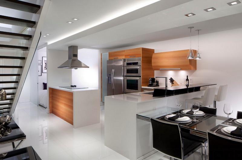 Кухня/столовая в  цветах:   Коричневый, Светло-серый, Серый, Черный.  Кухня/столовая в  стиле:   Минимализм.