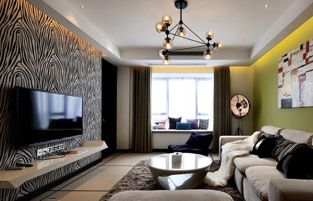 Гостиная в  цветах:   Бежевый, Светло-серый, Серый, Черный.  Гостиная в  стиле:   Минимализм.