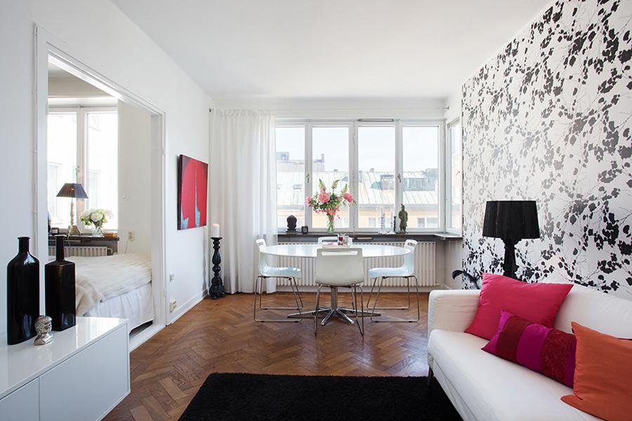 Гостиная в  цветах:   Белый, Коричневый, Светло-серый, Черный.  Гостиная в  стиле:   Скандинавский.