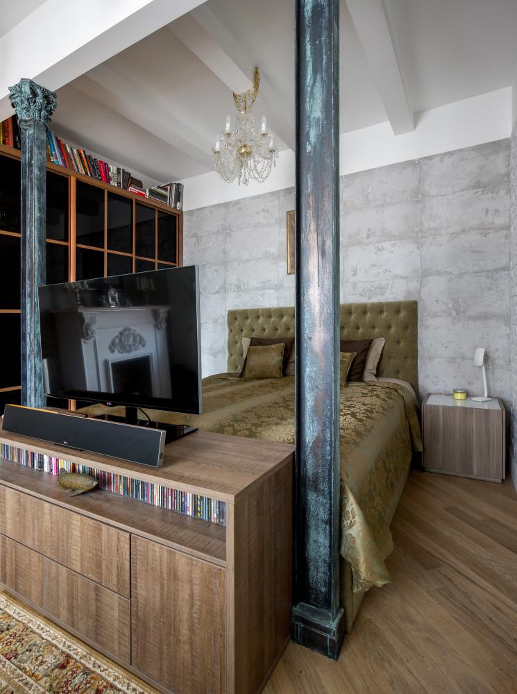 Спальня в  цветах:   Бежевый, Коричневый, Светло-серый, Черный.  Спальня в  стиле:   Лофт.