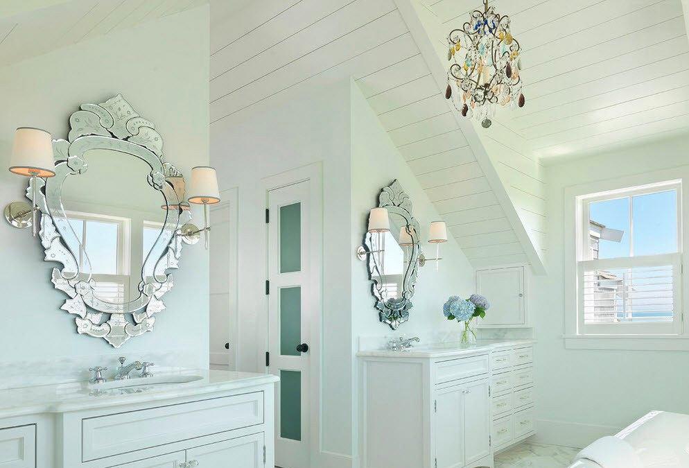 Архитектура в цветах: бирюзовый, светло-серый, белый. Архитектура в стилях: американский стиль, экологический стиль.