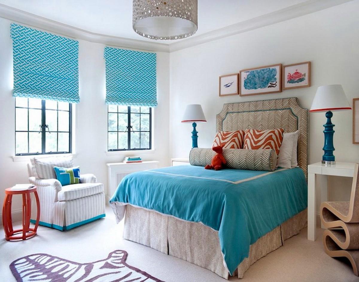 Спальня в цветах: оранжевый, голубой, бирюзовый, белый, сине-зеленый. Спальня в .