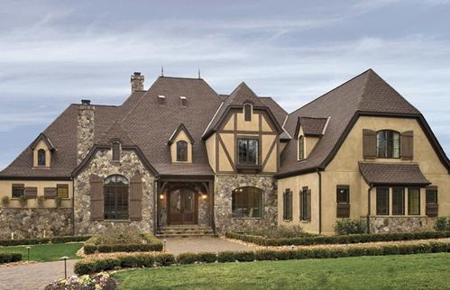 Архитектура в цветах: голубой, серый, темно-зеленый, бежевый. Архитектура в стиле английские стили.