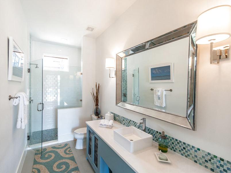 Туалет в цветах: желтый, серый, светло-серый, сине-зеленый. Туалет в стиле средиземноморский стиль.