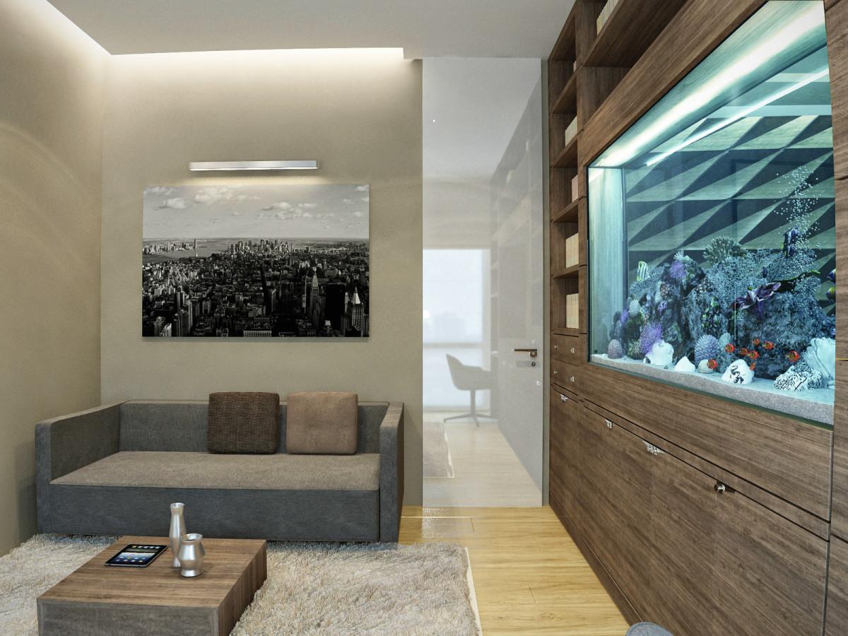 Гостиная, холл в цветах: серый, светло-серый, темно-коричневый, коричневый, бежевый. Гостиная, холл в стилях: арт-деко, минимализм.