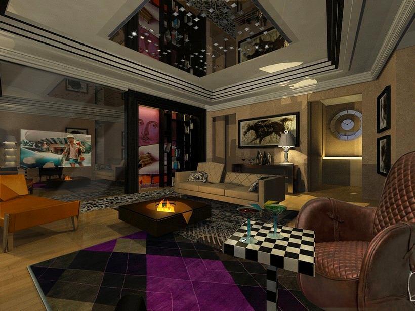 Гостиная, холл в цветах: черный, серый, сиреневый, темно-коричневый, коричневый. Гостиная, холл в стиле арт-деко.