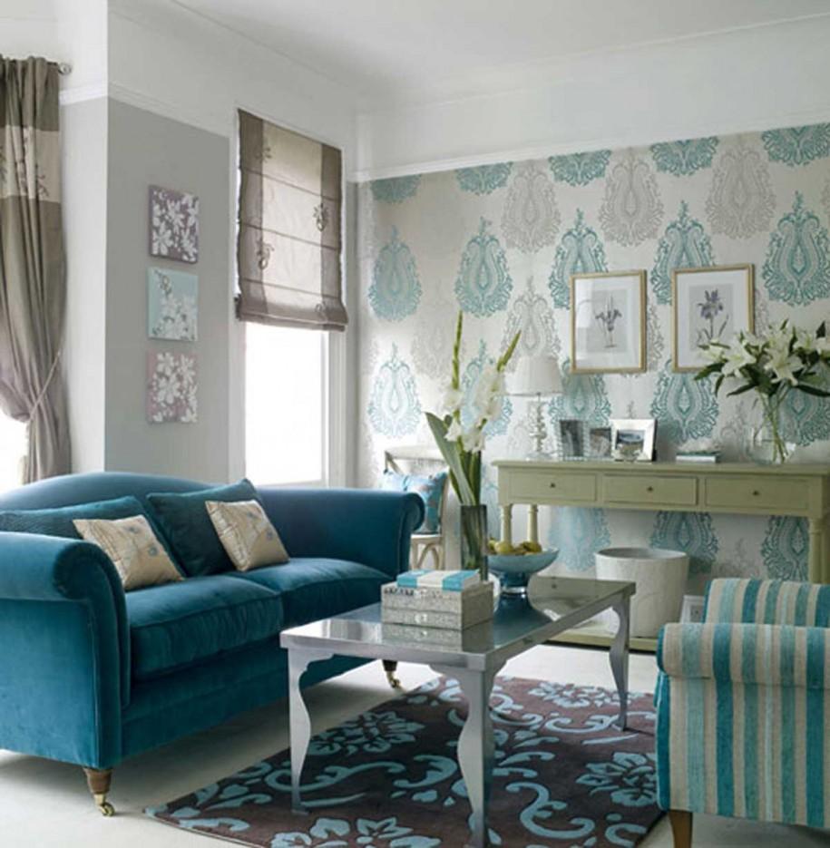 Гостиная, холл в цветах: голубой, бирюзовый, серый, белый, бежевый. Гостиная, холл в стилях: арт-деко.