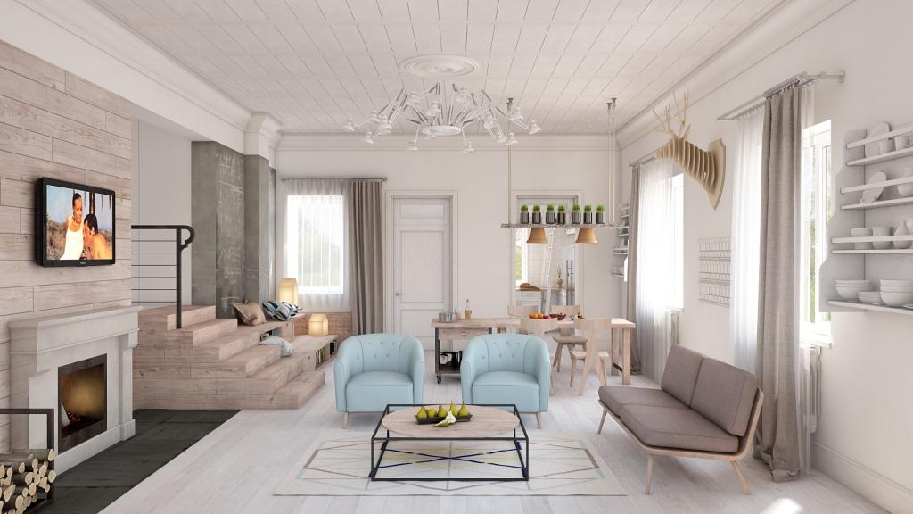 Гостиная, холл в цветах: голубой, светло-серый, белый, коричневый, бежевый. Гостиная, холл в стилях: экологический стиль, эклектика.