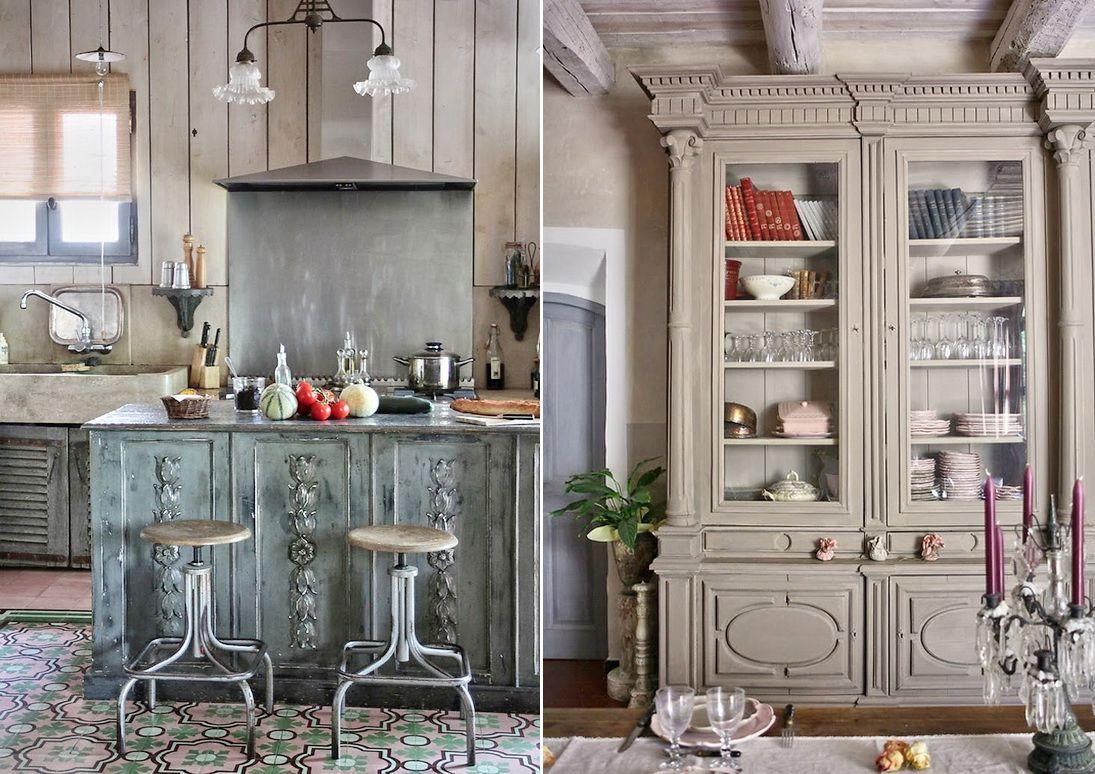 Кухня в цветах: черный, серый, светло-серый, белый, коричневый. Кухня в стилях: французские стили, прованс.