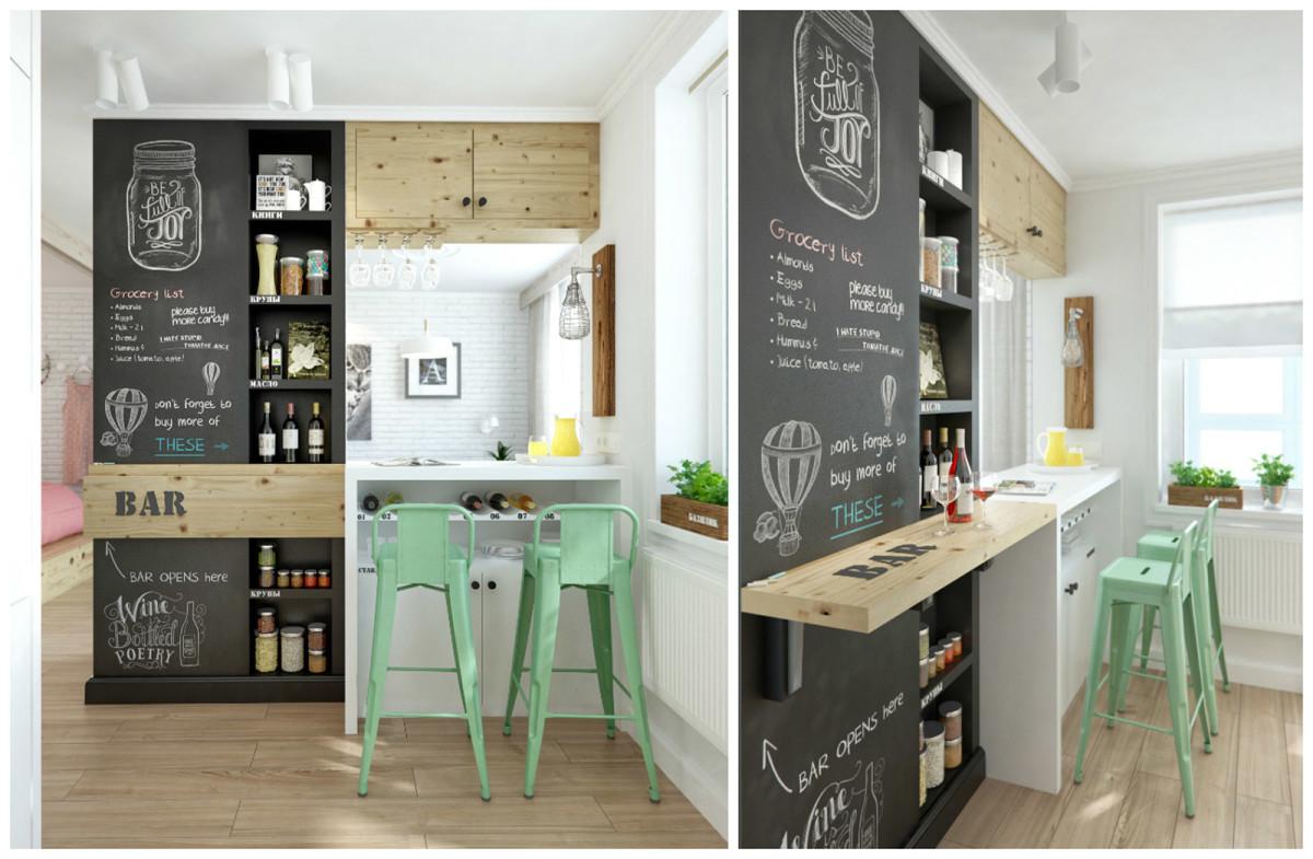 Кухня в цветах: зеленый, черный, белый, бежевый. Кухня в стиле скандинавский стиль.