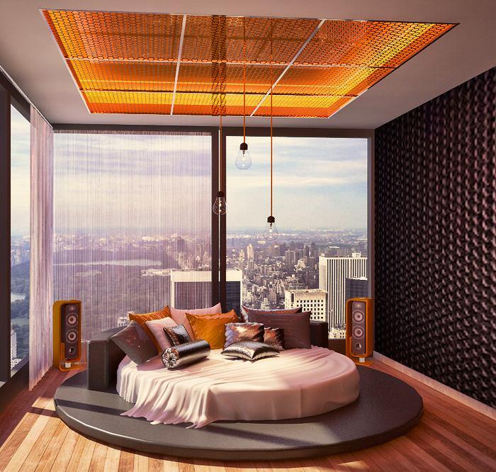 Спальня в цветах: оранжевый, черный, светло-серый, белый, темно-коричневый. Спальня в .