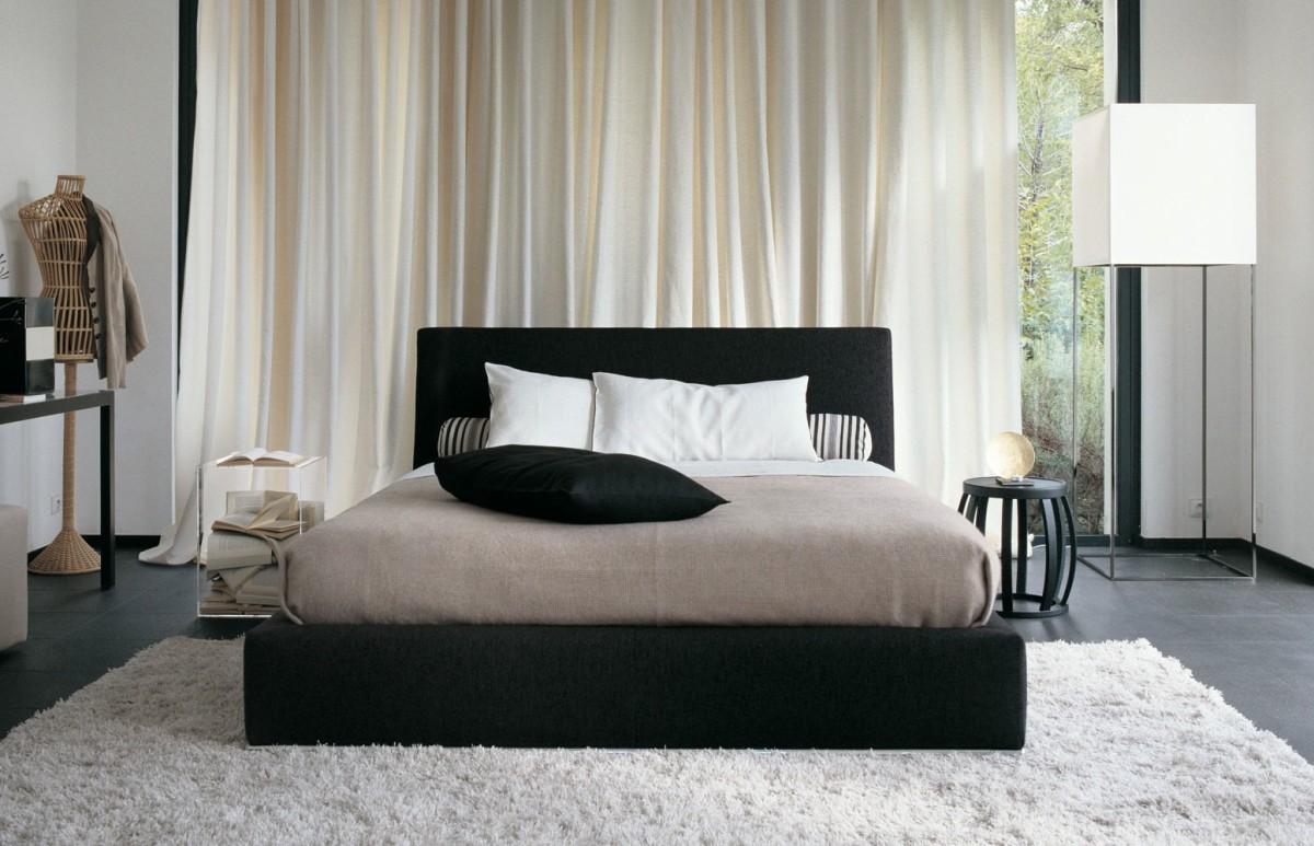 Спальня в цветах: черный, серый, светло-серый, белый. Спальня в стиле минимализм.