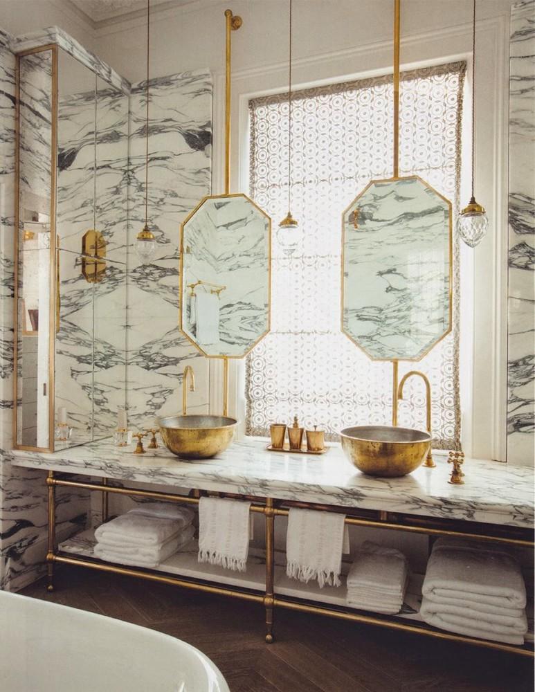 Ванная в цветах: серый, светло-серый, белый, бежевый. Ванная в стиле арт-деко.