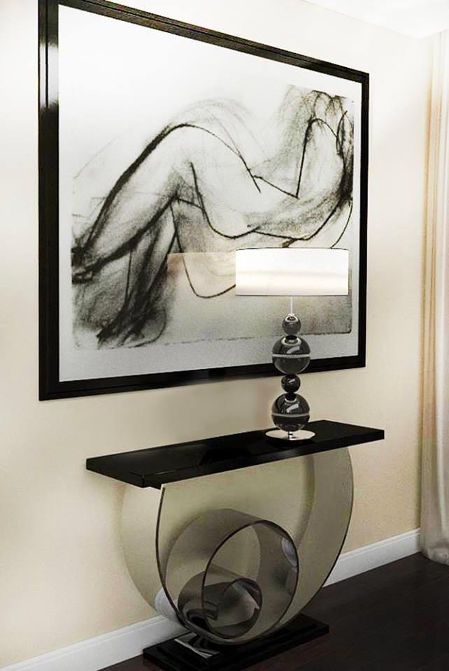 Мебель и предметы интерьера в цветах: черный, серый, светло-серый. Мебель и предметы интерьера в стиле неоклассика.