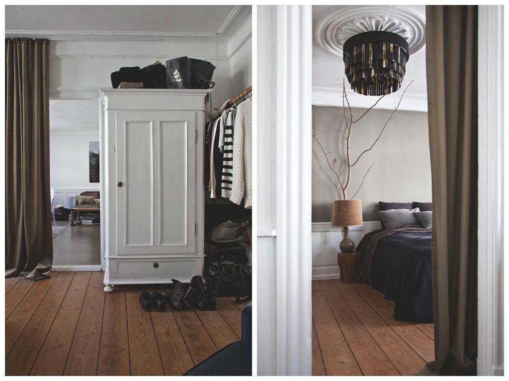Спальня в цветах: черный, светло-серый, темно-коричневый, бежевый. Спальня в .