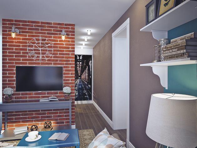 Гостиная, холл в цветах: серый, светло-серый, сине-зеленый, коричневый, бежевый. Гостиная, холл в стиле лофт.