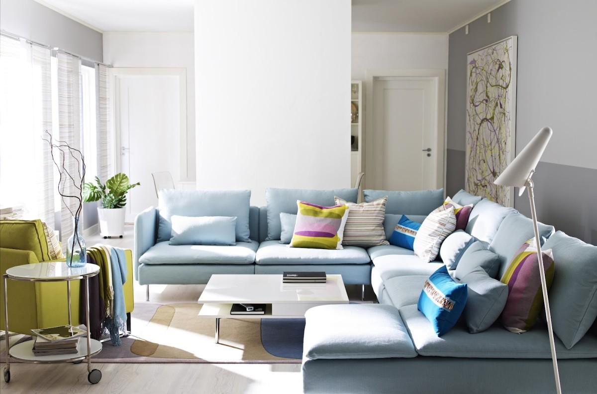 Гостиная, холл в цветах: голубой, серый, светло-серый, белый, салатовый. Гостиная, холл в стиле скандинавский стиль.