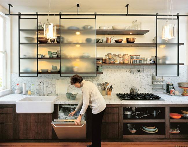 Кухня в цветах: черный, белый, темно-коричневый, коричневый. Кухня в стиле лофт.