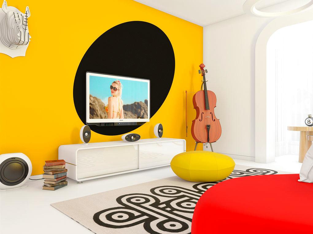 Гостиная, холл в цветах: красный, желтый, черный, белый. Гостиная, холл в стиле эклектика.