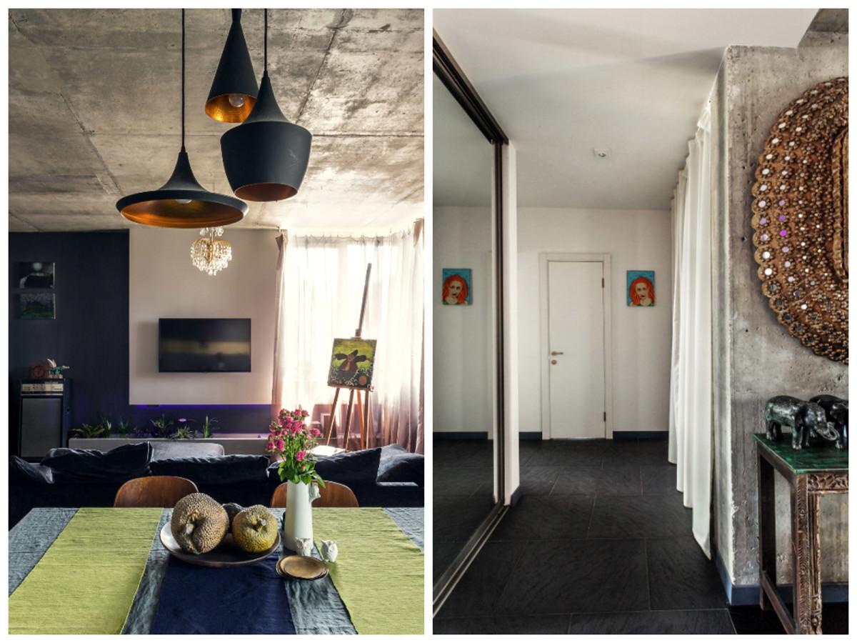 Гостиная, холл в цветах: черный, серый, светло-серый, белый, бежевый. Гостиная, холл в стилях: минимализм, этника.