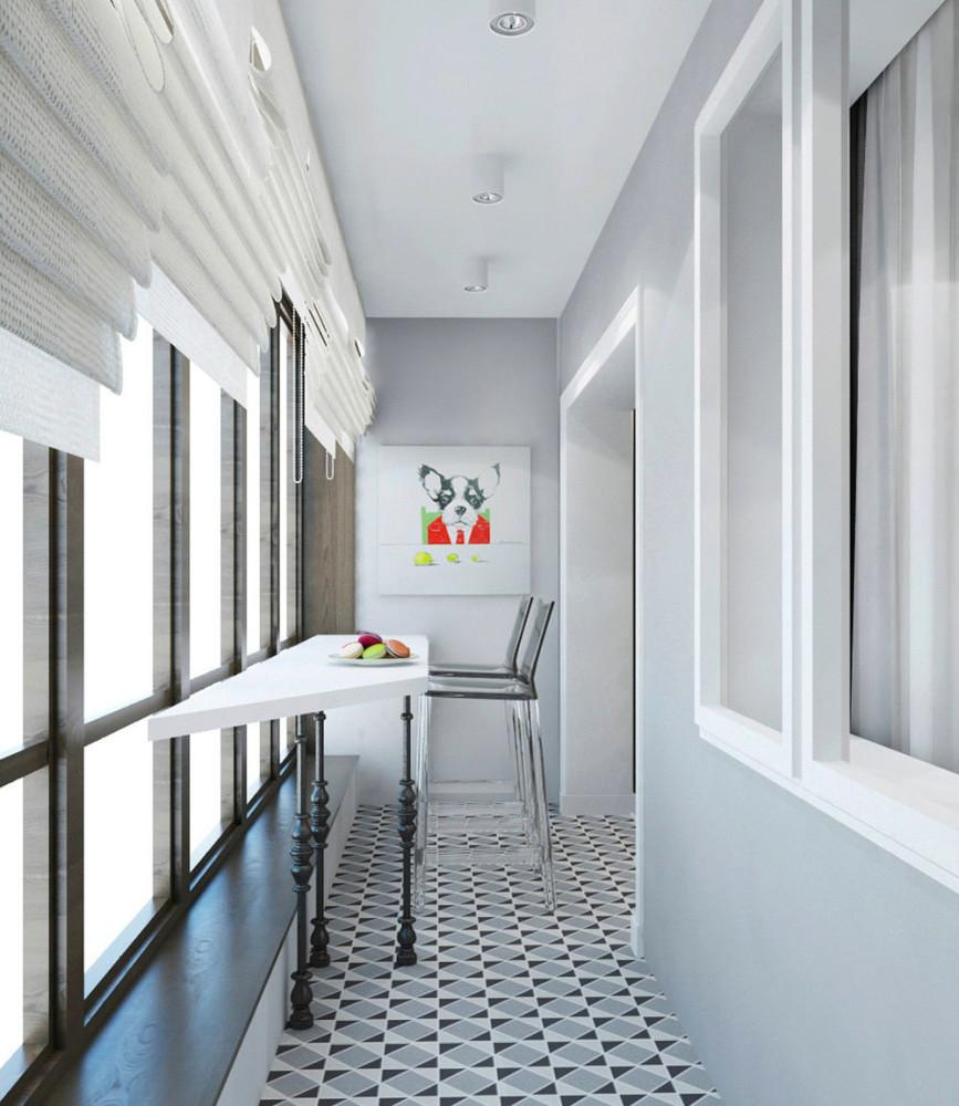 Балкон, веранда, патио в цветах: бирюзовый, серый, светло-серый, белый. Балкон, веранда, патио в стиле эклектика.