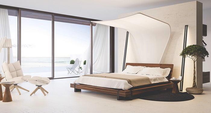 Спальня в цветах: серый, белый, коричневый, бежевый. Спальня в стиле скандинавский стиль.