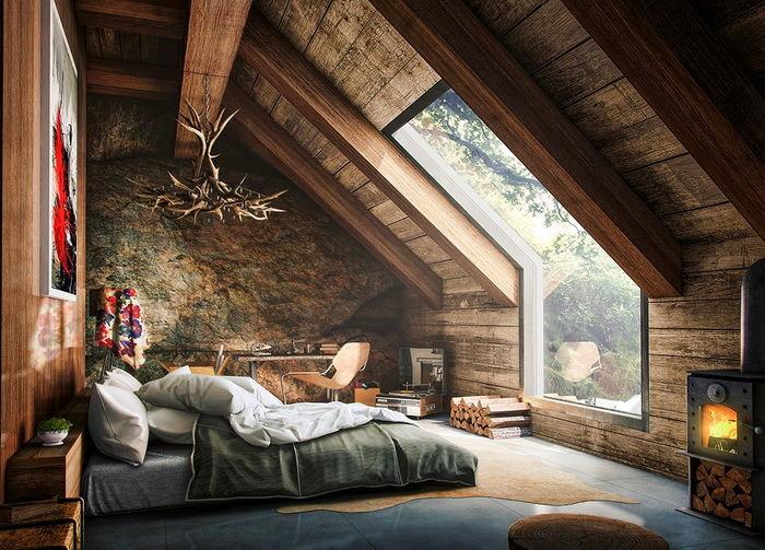 Спальня в цветах: серый, светло-серый, темно-зеленый, коричневый, бежевый. Спальня в стиле скандинавский стиль.