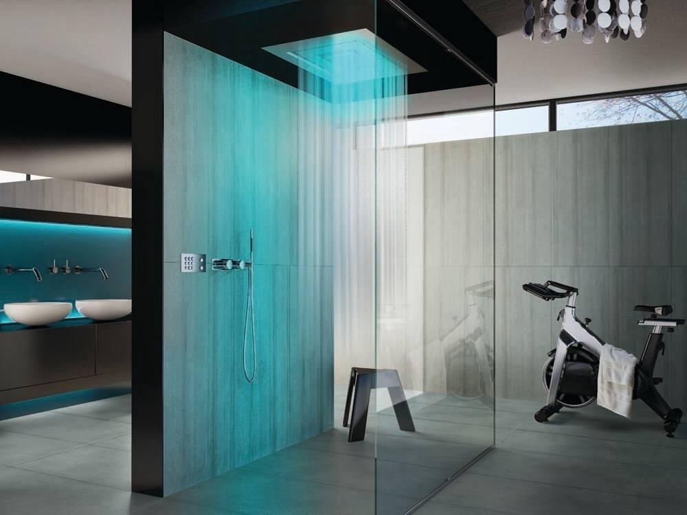 Туалет в цветах: черный, серый, светло-серый, сине-зеленый. Туалет в стиле хай-тек.