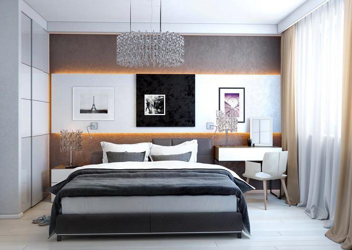 Спальня в цветах: черный, серый, светло-серый, белый, бежевый. Спальня в стиле минимализм.