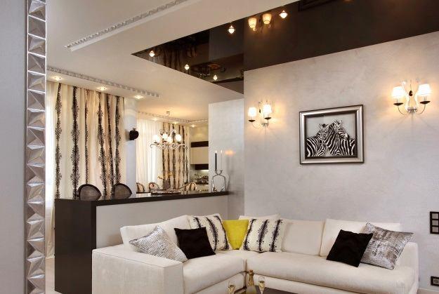 Гостиная, холл в цветах: желтый, черный, серый, бежевый. Гостиная, холл в стиле эклектика.