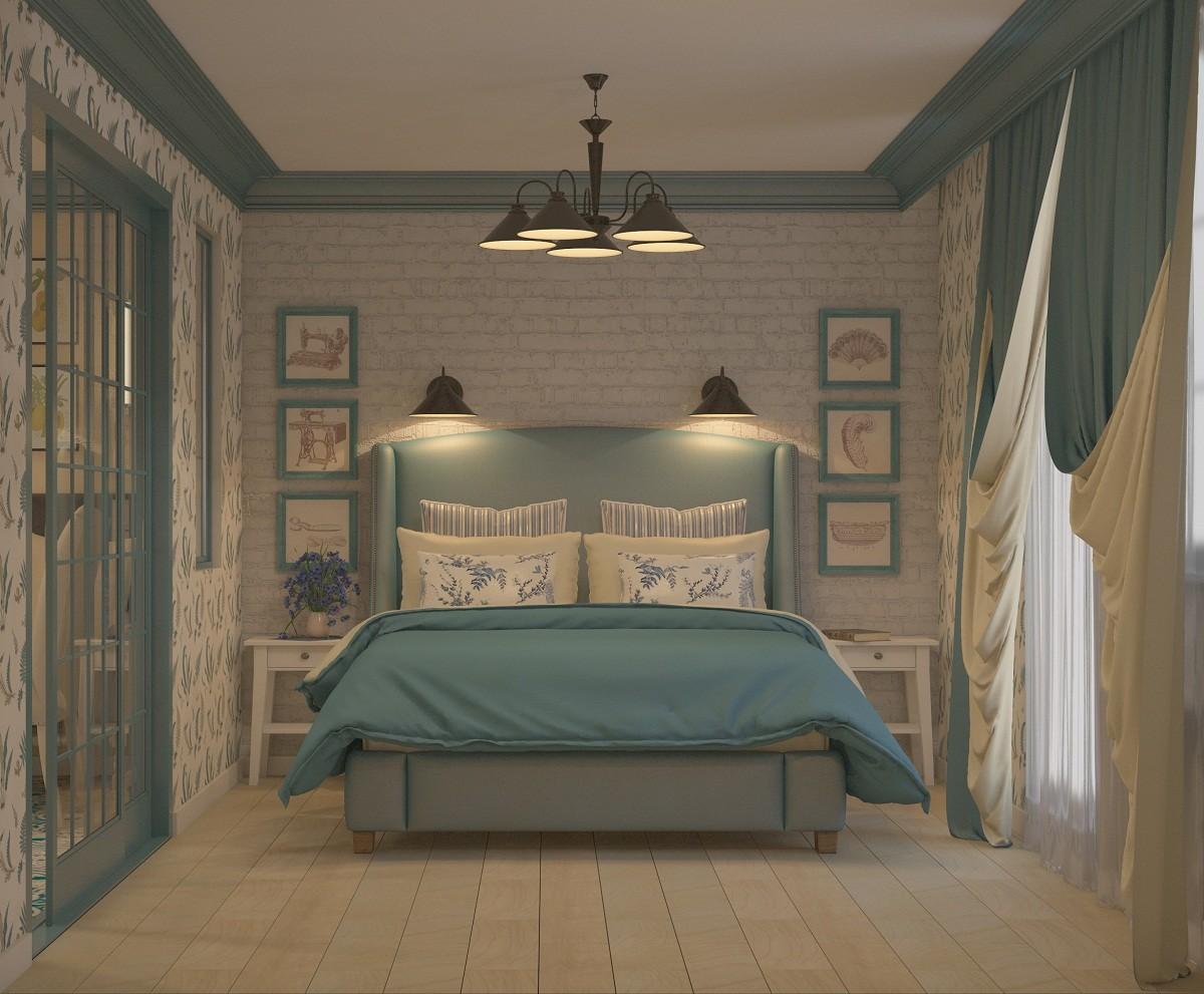 Спальня в цветах: серый, светло-серый, коричневый, бежевый. Спальня в стиле эклектика.