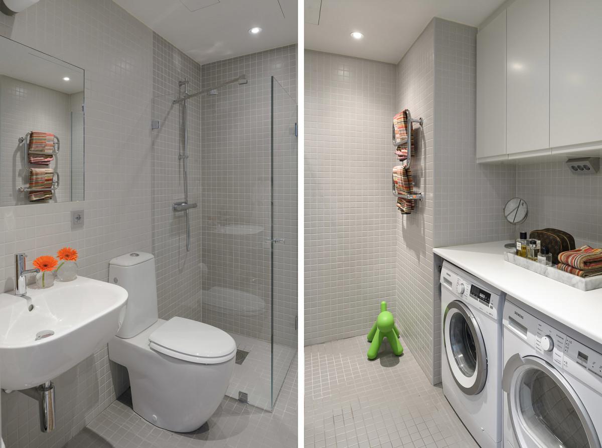 Туалет в цветах: черный, серый, светло-серый, белый. Туалет в стиле скандинавский стиль.