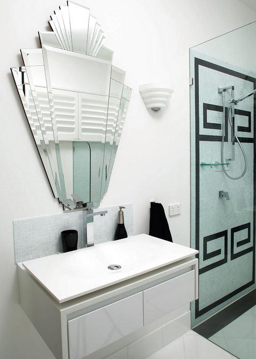 Туалет в цветах: бирюзовый, черный, серый, светло-серый. Туалет в стиле арт-деко.