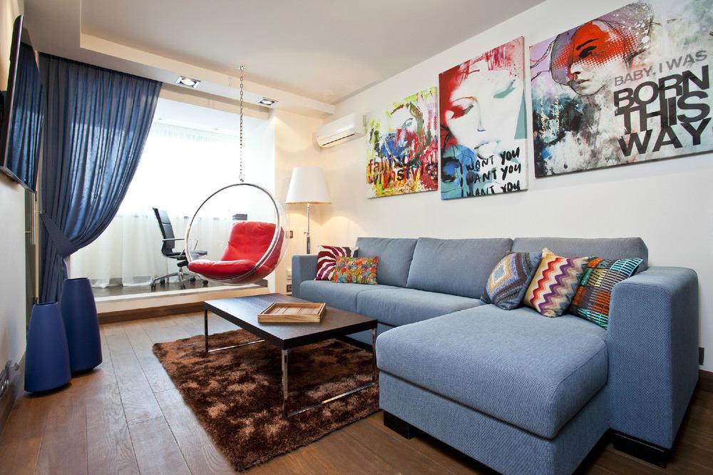 Гостиная, холл в цветах: фиолетовый, серый, светло-серый, белый. Гостиная, холл в стиле минимализм.