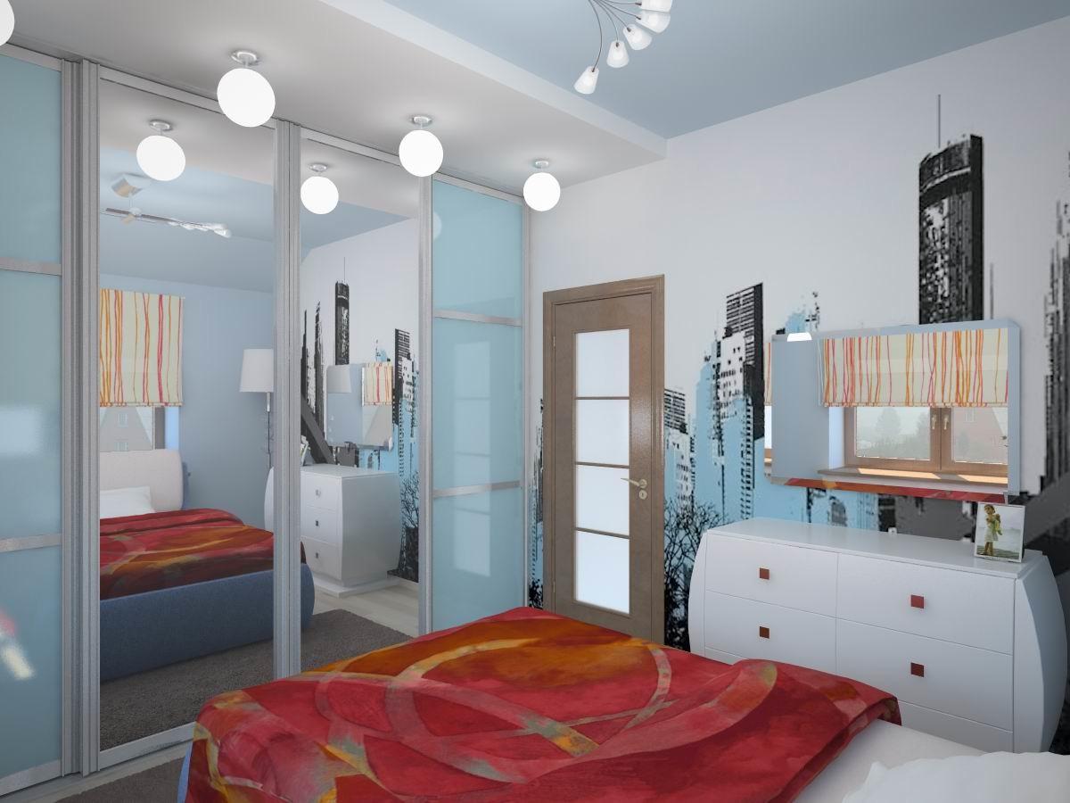 Спальня в цветах: бирюзовый, серый, светло-серый, коричневый. Спальня в стиле эклектика.