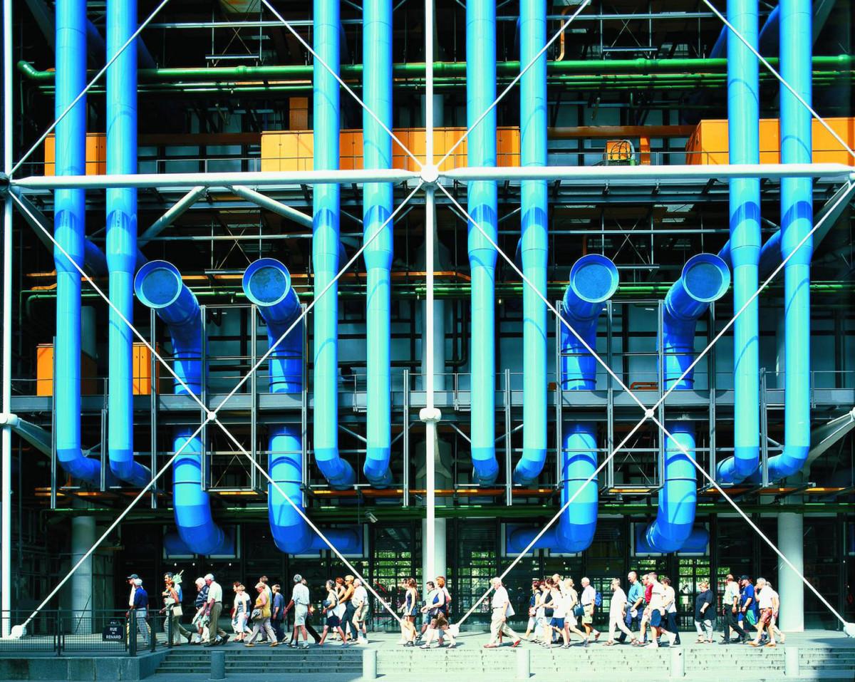 Архитектура в цветах: голубой, бирюзовый, черный, серый, сине-зеленый. Архитектура в стиле хай-тек.
