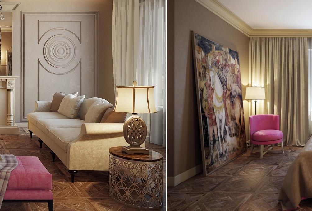 Гостиная, холл в цветах: серый, светло-серый, темно-коричневый, коричневый, бежевый. Гостиная, холл в стиле неоклассика.