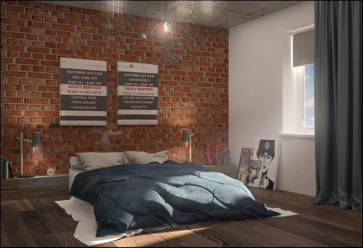 Спальня в цветах: серый, светло-серый, коричневый. Спальня в стиле лофт.
