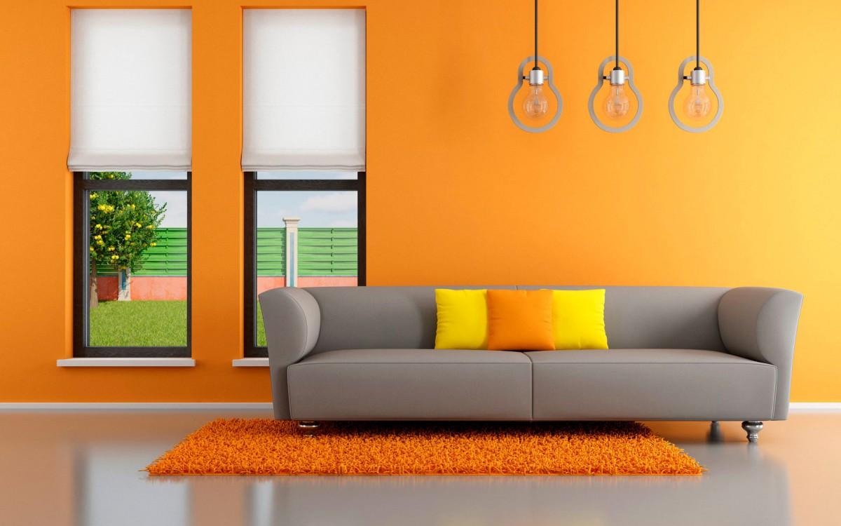 Гостиная, холл в цветах: оранжевый, желтый, серый, светло-серый, бежевый. Гостиная, холл в стилях: поп-арт.