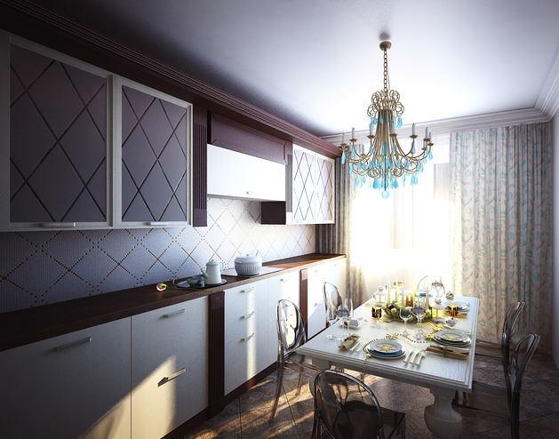 Кухня в цветах: светло-серый, белый, сиреневый, бежевый. Кухня в стиле неоклассика.